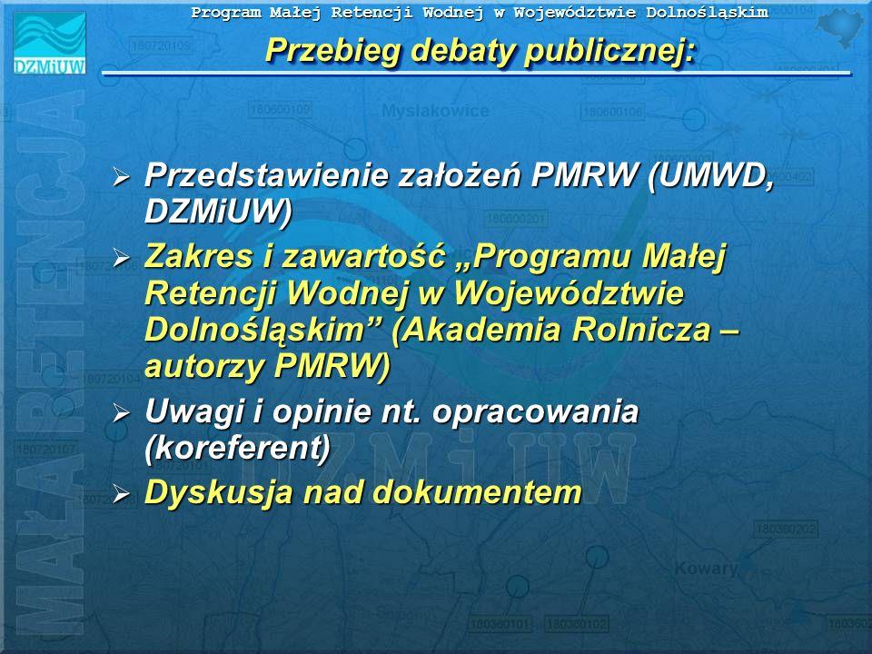 Przebieg debaty publicznej: Przedstawienie założeń PMRW (UMWD, DZMiUW) Przedstawienie założeń PMRW (UMWD, DZMiUW) Zakres i zawartość Programu Małej Re