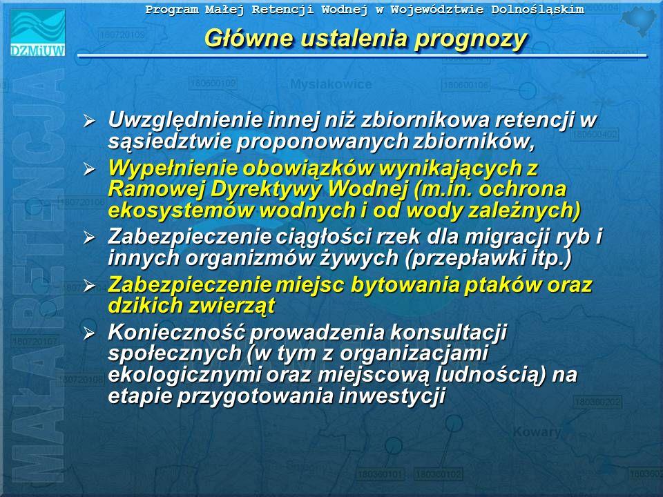 Program Małej Retencji Wodnej w Województwie Dolnośląskim Główne ustalenia prognozy Uwzględnienie innej niż zbiornikowa retencji w sąsiedztwie propono