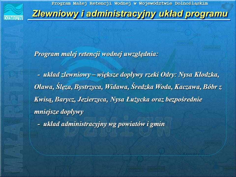 Program Małej Retencji Wodnej w Województwie Dolnośląskim WnioskiWnioski 1) Na terenie Dolnego Śląska istnieją duże potrzeby i możliwości rozwoju małej retencji wodnej, w tym zbiornikowej.