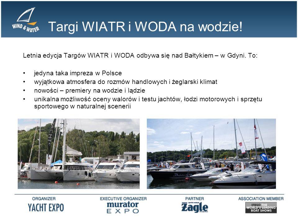 Targi WIATR i WODA na wodzie! Letnia edycja Targów WIATR i WODA odbywa się nad Bałtykiem – w Gdyni. To: jedyna taka impreza w Polsce wyjątkowa atmosfe