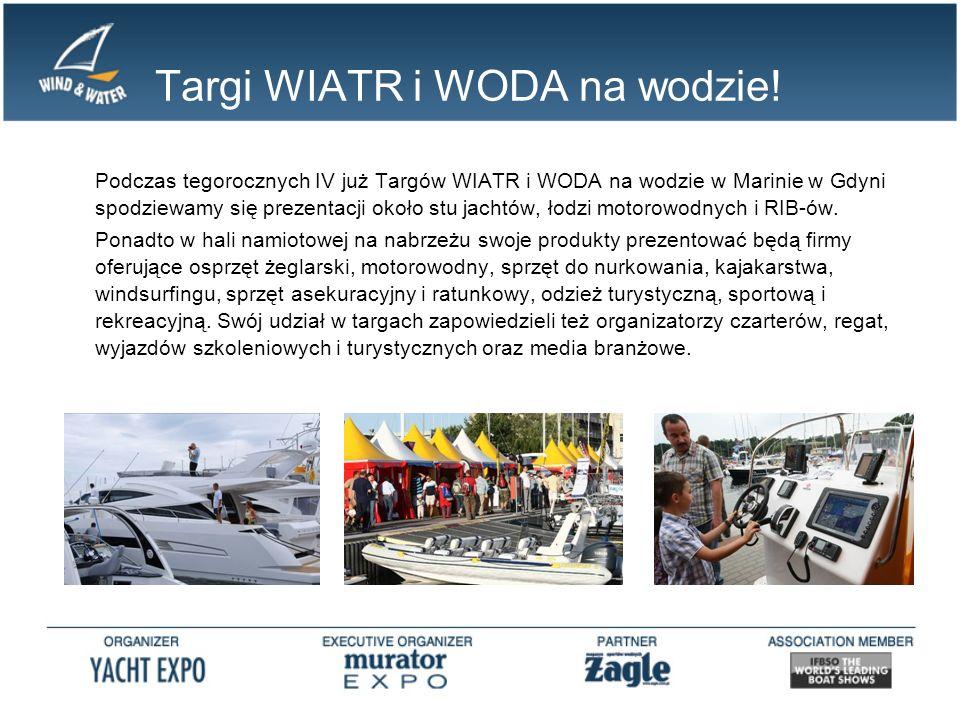 Targi WIATR i WODA na wodzie! Podczas tegorocznych IV już Targów WIATR i WODA na wodzie w Marinie w Gdyni spodziewamy się prezentacji około stu jachtó