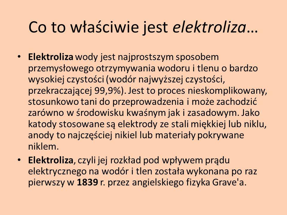 Co to właściwie jest elektroliza… Elektroliza wody jest najprostszym sposobem przemysłowego otrzymywania wodoru i tlenu o bardzo wysokiej czystości (w