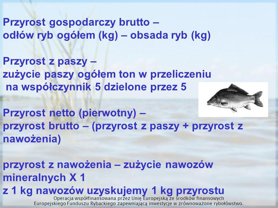Przyrost gospodarczy brutto – odłów ryb ogółem (kg) – obsada ryb (kg) Przyrost z paszy – zużycie paszy ogółem ton w przeliczeniu na współczynnik 5 dzi