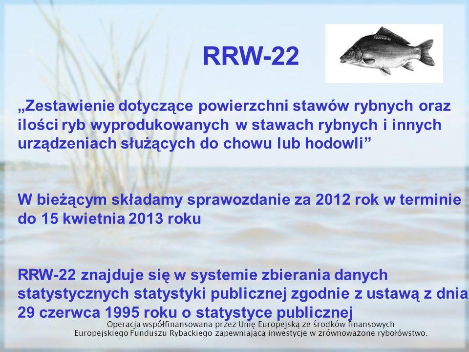RRW-22 Zestawienie dotyczące powierzchni stawów rybnych oraz ilości ryb wyprodukowanych w stawach rybnych i innych urządzeniach służących do chowu lub