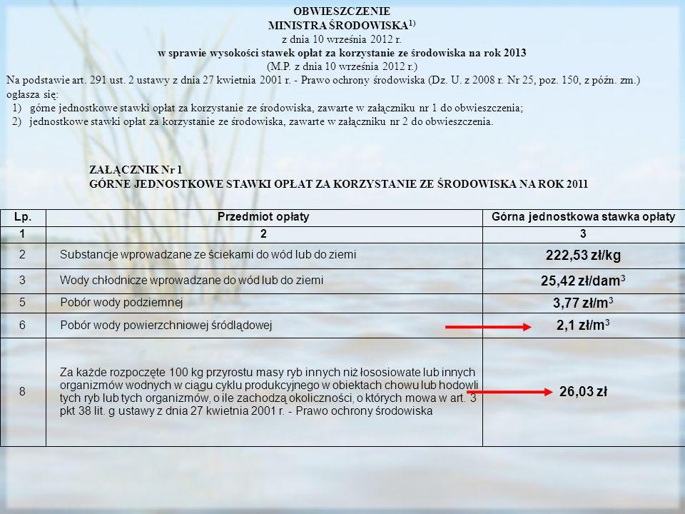 OBWIESZCZENIE MINISTRA ŚRODOWISKA 1) z dnia 10 września 2012 r. w sprawie wysokości stawek opłat za korzystanie ze środowiska na rok 2013 (M.P. z dnia