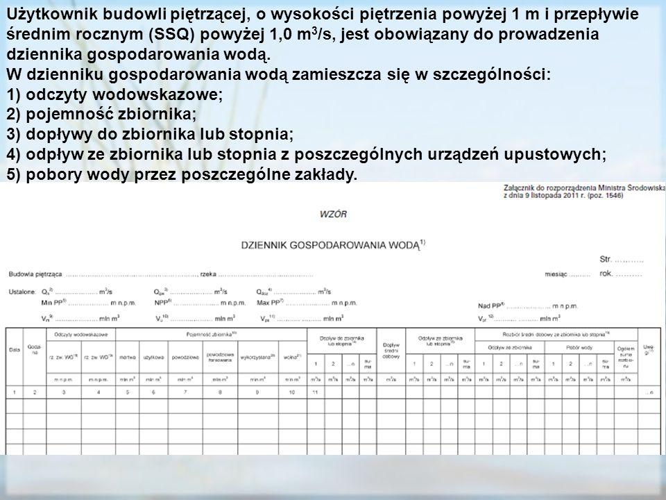Użytkownik budowli piętrzącej, o wysokości piętrzenia powyżej 1 m i przepływie średnim rocznym (SSQ) powyżej 1,0 m 3 /s, jest obowiązany do prowadzeni