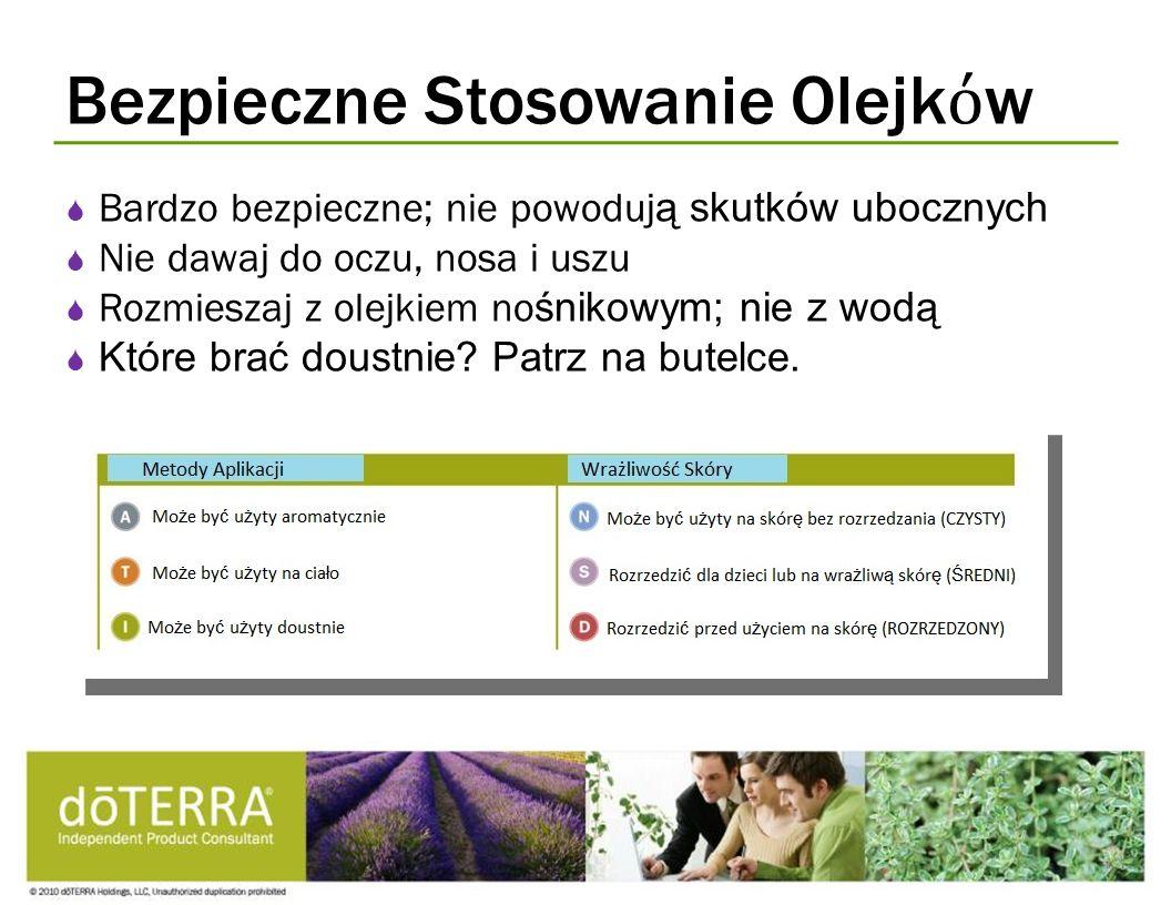 Bezpieczne Stosowanie Olejk w Bardzo bezpieczne; nie powoduj ą skutków ubocznych Nie dawaj do oczu, nosa i uszu Rozmieszaj z olejkiem no śnikowym; nie