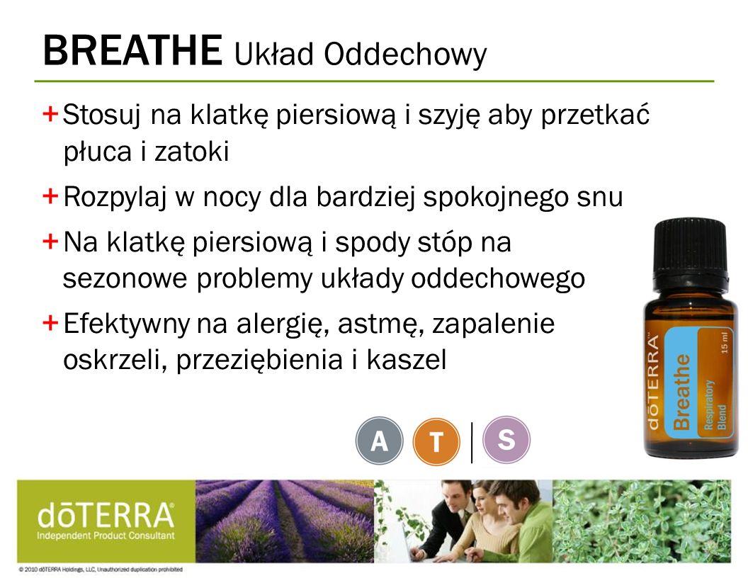 BREATHE Układ Oddechowy +Stosuj na klatkę piersiową i szyję aby przetkać płuca i zatoki +Rozpylaj w nocy dla bardziej spokojnego snu +Na klatkę piersi