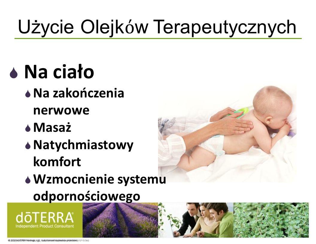 © 2008 dōTERRA Holdings, LLC, Unauthorized duplication prohibited Użycie Olejk w Terapeutycznych Na ciało Na zakończenia nerwowe Masaż Natychmiastowy