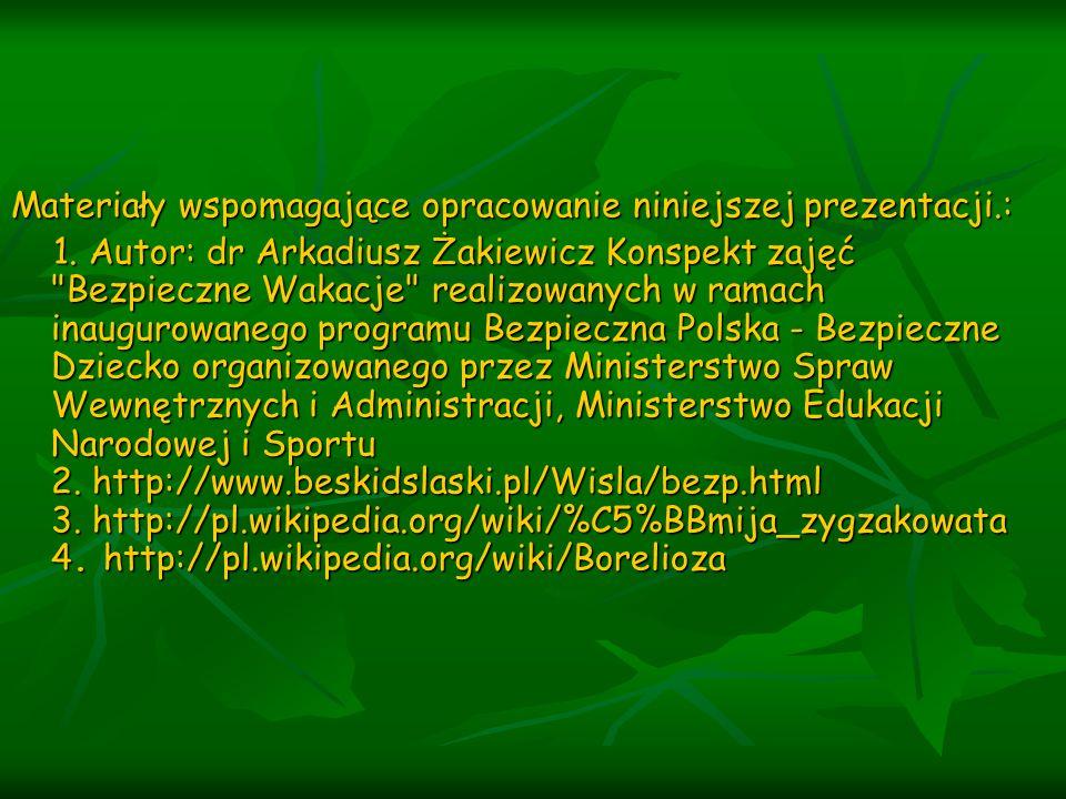Materiały wspomagające opracowanie niniejszej prezentacji.: 1. Autor: dr Arkadiusz Żakiewicz Konspekt zajęć