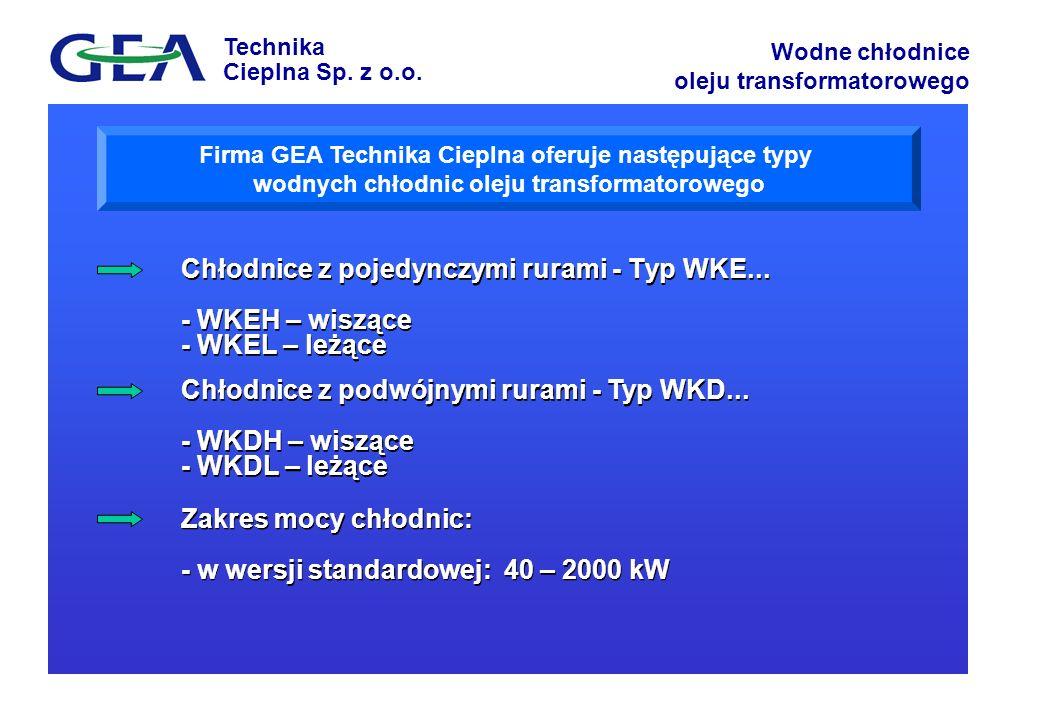 Technika Cieplna Sp. z o.o. Wodne chłodnice oleju transformatorowego Firma GEA Technika Cieplna oferuje następujące typy wodnych chłodnic oleju transf