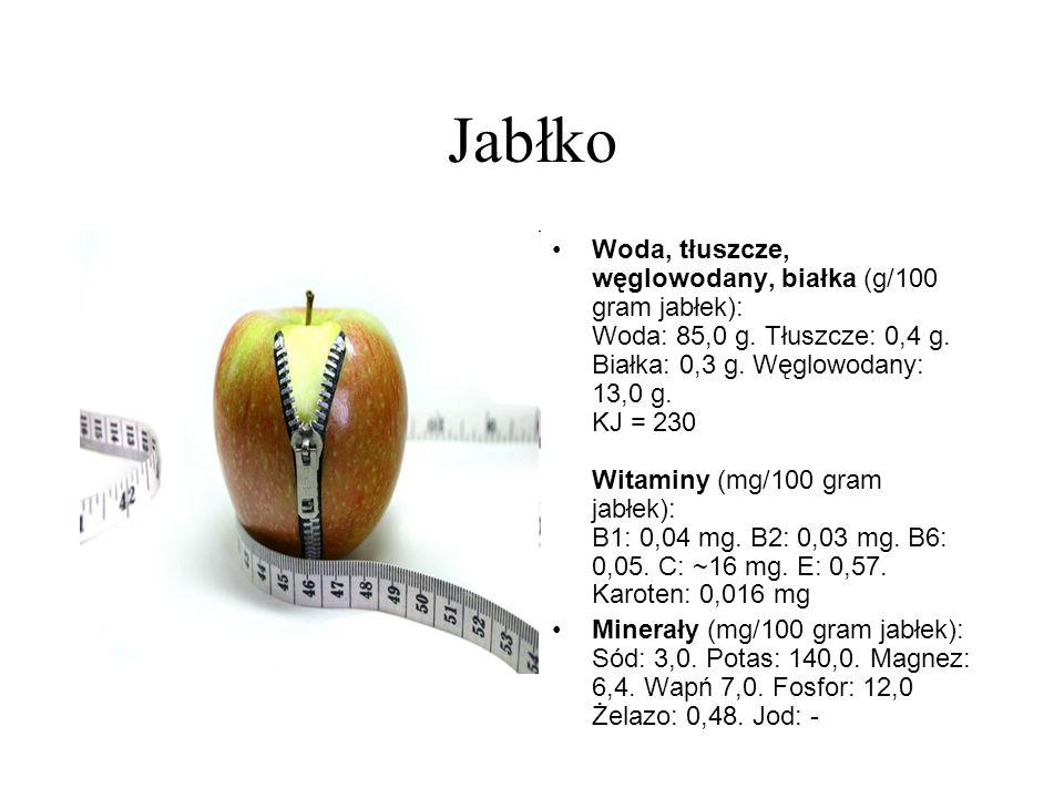 Jabłko Woda, tłuszcze, węglowodany, białka (g/100 gram jabłek): Woda: 85,0 g. Tłuszcze: 0,4 g. Białka: 0,3 g. Węglowodany: 13,0 g. KJ = 230 Witaminy (