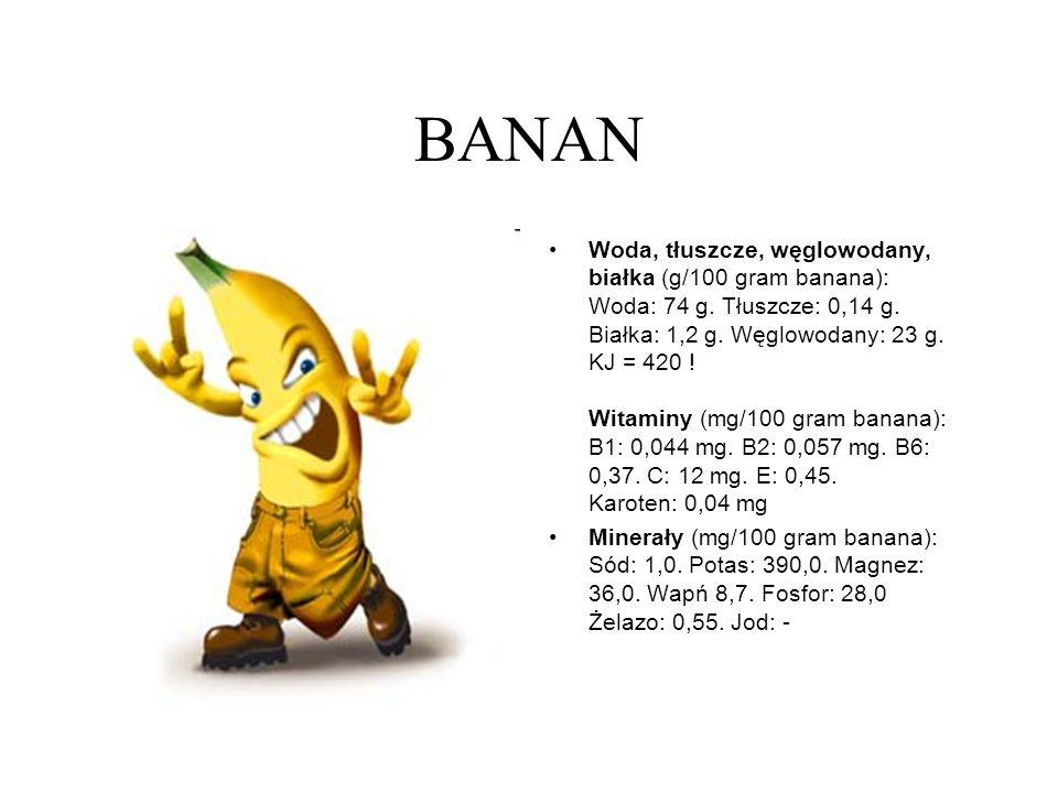 BANAN Woda, tłuszcze, węglowodany, białka (g/100 gram banana): Woda: 74 g. Tłuszcze: 0,14 g. Białka: 1,2 g. Węglowodany: 23 g. KJ = 420 ! Witaminy (mg