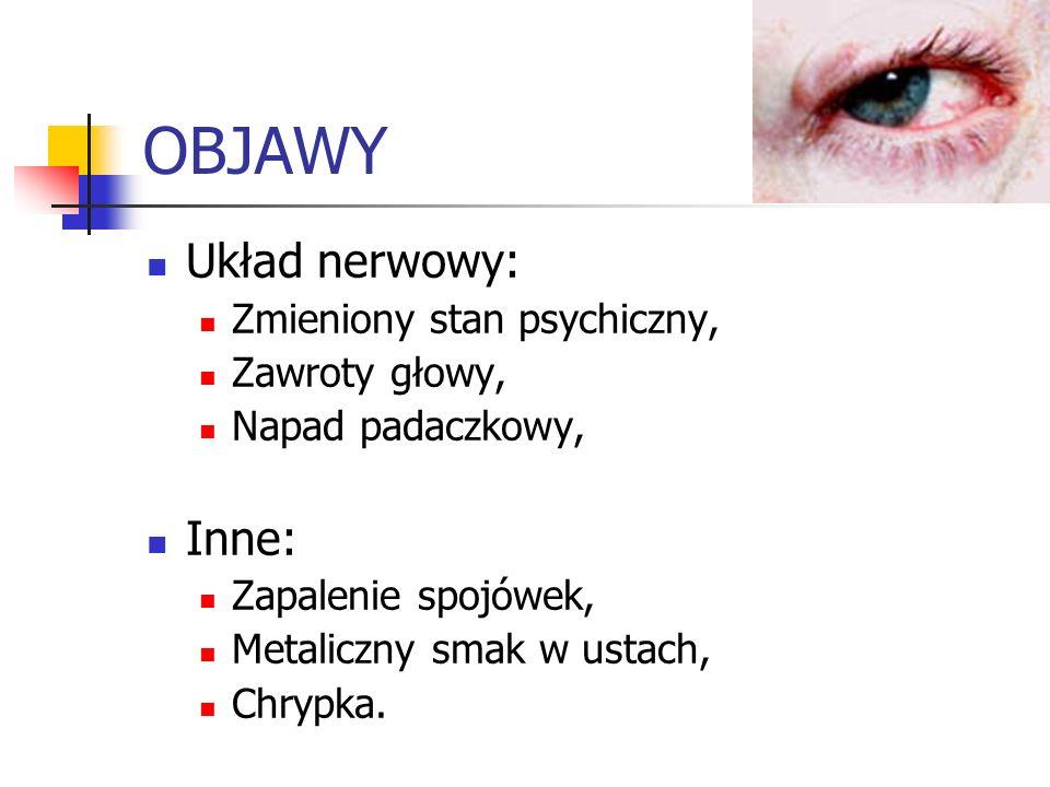 OBJAWY Układ nerwowy: Zmieniony stan psychiczny, Zawroty głowy, Napad padaczkowy, Inne: Zapalenie spojówek, Metaliczny smak w ustach, Chrypka.