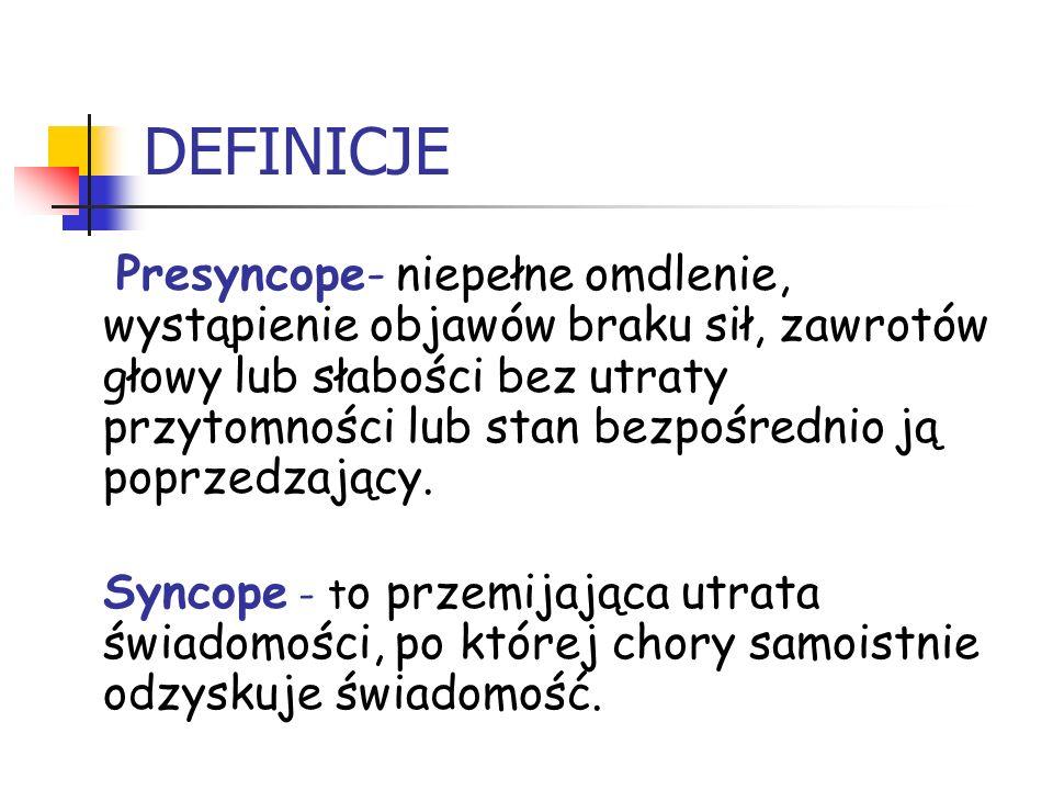 DEFINICJE Presyncope- niepełne omdlenie, wystąpienie objawów braku sił, zawrotów głowy lub słabości bez utraty przytomności lub stan bezpośrednio ją p