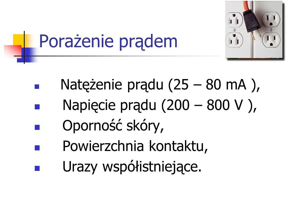 Porażenie prądem Natężenie prądu (25 – 80 mA ), Napięcie prądu (200 – 800 V ), Oporność skóry, Powierzchnia kontaktu, Urazy współistniejące.
