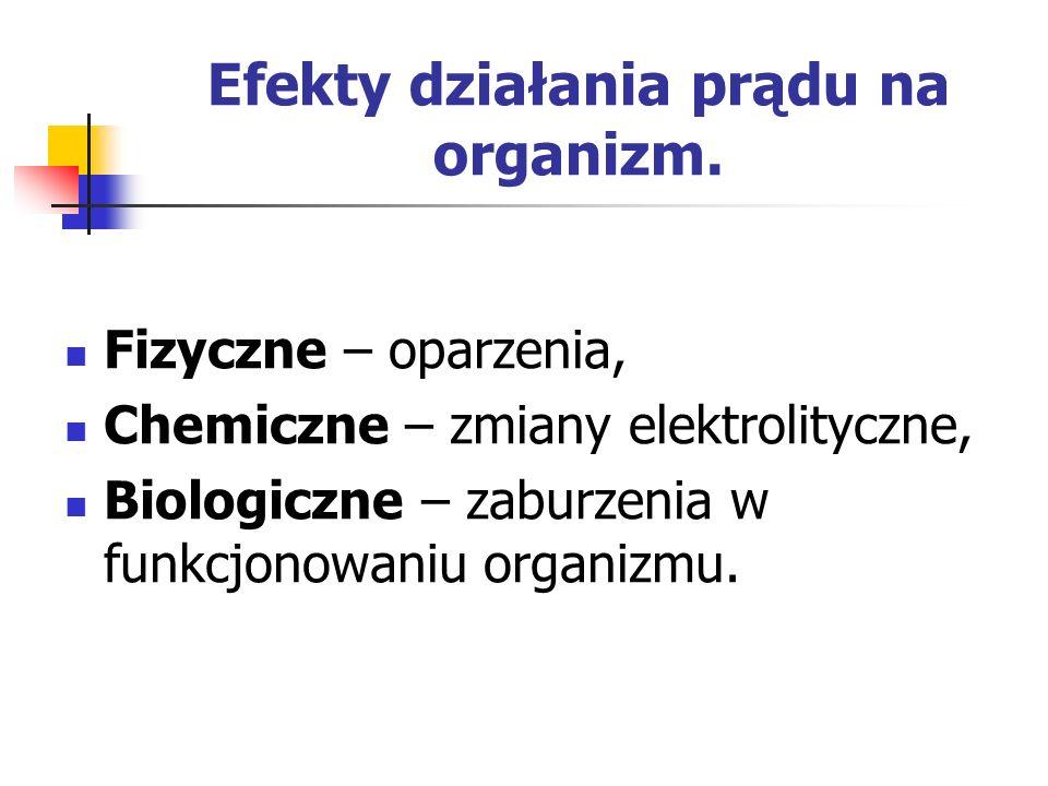 Efekty działania prądu na organizm. Fizyczne – oparzenia, Chemiczne – zmiany elektrolityczne, Biologiczne – zaburzenia w funkcjonowaniu organizmu.