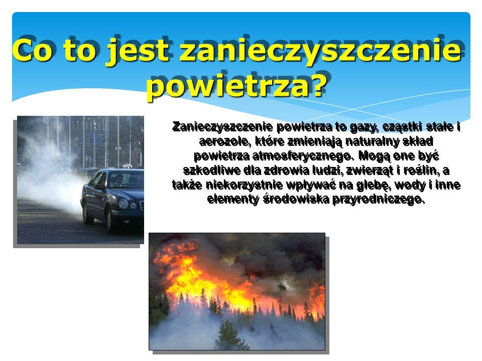 Co to jest zanieczyszczenie powietrza? Zanieczyszczenie powietrza to gazy, cząstki stałe i aerozole, które zmieniają naturalny skład powietrza atmosfe