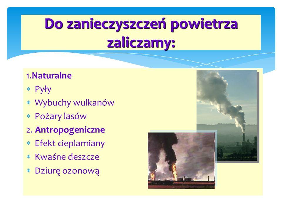 1.Naturalne P yły W ybuchy wulkanów P ożary lasów 2. Antropogeniczne E fekt cieplarniany K waśne deszcze D ziurę ozonową Do zanieczyszczeń powietrza z
