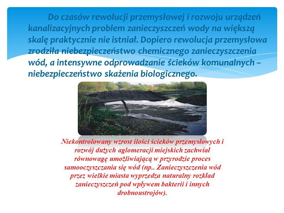 Do czasów rewolucji przemysłowej i rozwoju urządzeń kanalizacyjnych problem zanieczyszczeń wody na większą skalę praktycznie nie istniał. Dopiero rewo