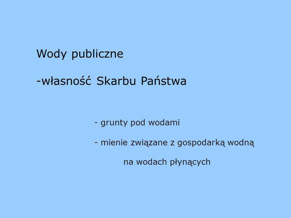 Prawa właścicielskie w stosunku do wód publicznych wykonują m.in.: Prezes KZGW Marszałek województwa art.