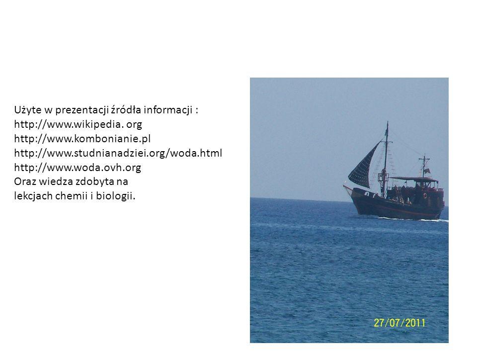 Użyte w prezentacji źródła informacji : http://www.wikipedia. org http://www.kombonianie.pl http://www.studnianadziei.org/woda.html http://www.woda.ov