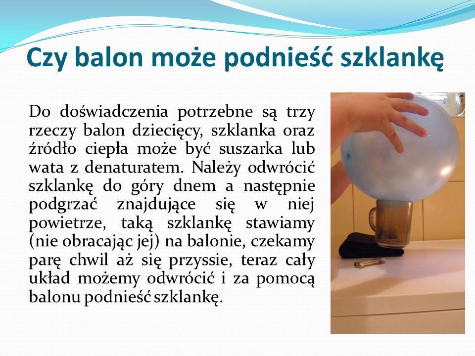 Czy balon może podnieść szklankę Do doświadczenia potrzebne są trzy rzeczy balon dziecięcy, szklanka oraz źródło ciepła może być suszarka lub wata z denaturatem.