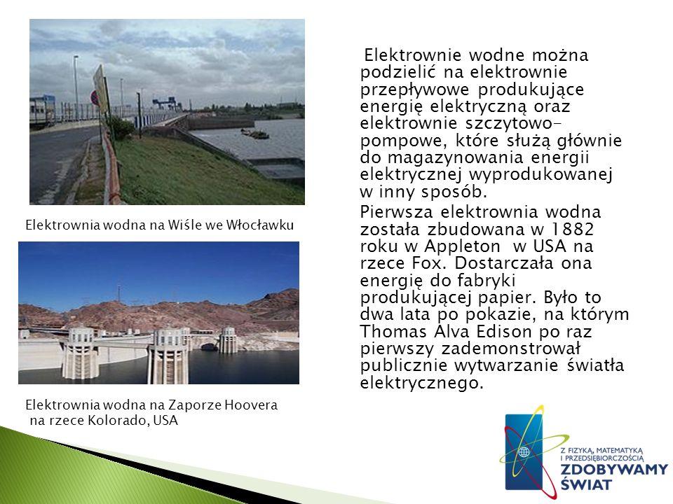 Elektrownie wodne można podzielić na elektrownie przepływowe produkujące energię elektryczną oraz elektrownie szczytowo- pompowe, które służą głównie do magazynowania energii elektrycznej wyprodukowanej w inny sposób.