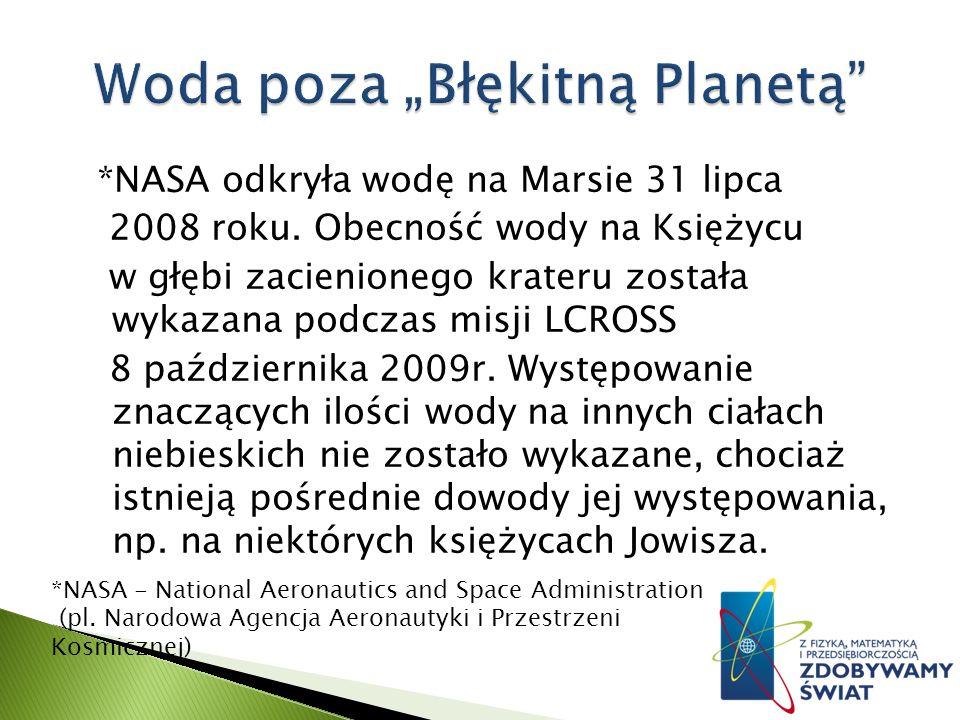 *NASA odkryła wodę na Marsie 31 lipca 2008 roku.