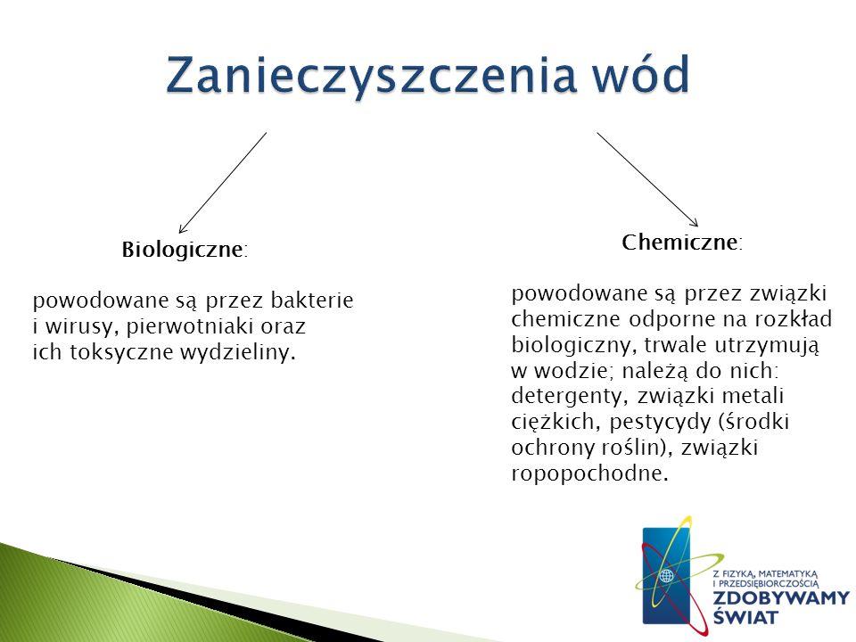 Chemiczne: powodowane są przez związki chemiczne odporne na rozkład biologiczny, trwale utrzymują w wodzie; należą do nich: detergenty, związki metali ciężkich, pestycydy (środki ochrony roślin), związki ropopochodne.