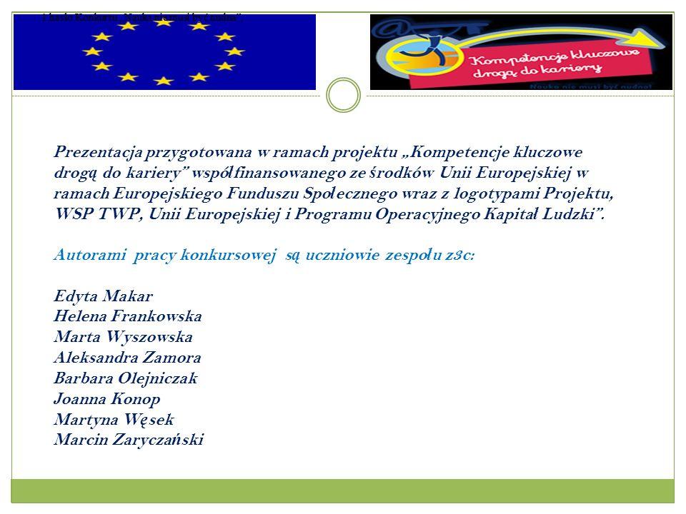Prezentacja przygotowana w ramach projektu Kompetencje kluczowe drog ą do kariery wspó ł finansowanego ze ś rodków Unii Europejskiej w ramach Europejskiego Funduszu Spo ł ecznego wraz z logotypami Projektu, WSP TWP, Unii Europejskiej i Programu Operacyjnego Kapita ł Ludzki.