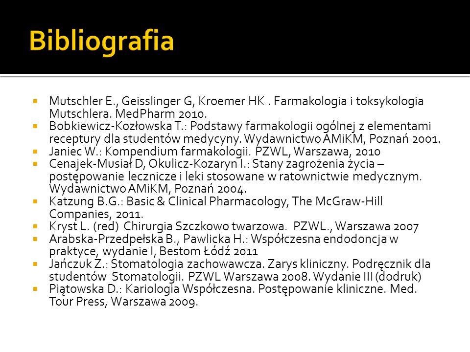 Mutschler E., Geisslinger G, Kroemer HK.Farmakologia i toksykologia Mutschlera.