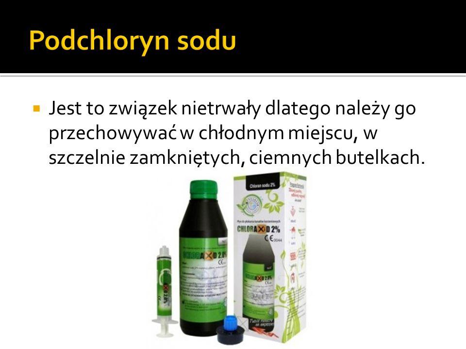 Jest to związek nietrwały dlatego należy go przechowywać w chłodnym miejscu, w szczelnie zamkniętych, ciemnych butelkach.