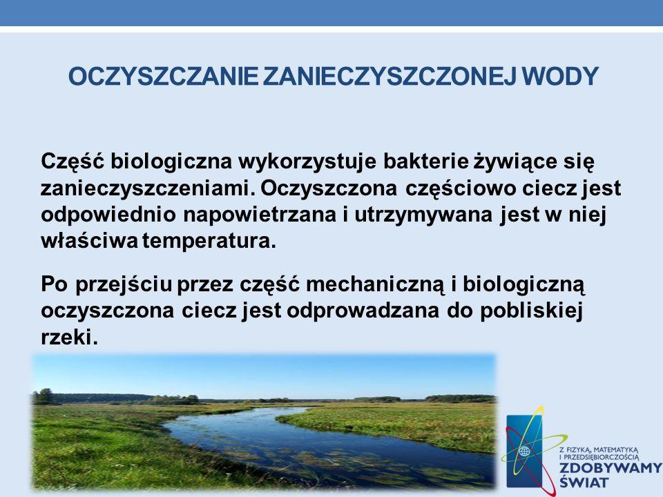 OCZYSZCZANIE ZANIECZYSZCZONEJ WODY Część biologiczna wykorzystuje bakterie żywiące się zanieczyszczeniami. Oczyszczona częściowo ciecz jest odpowiedni