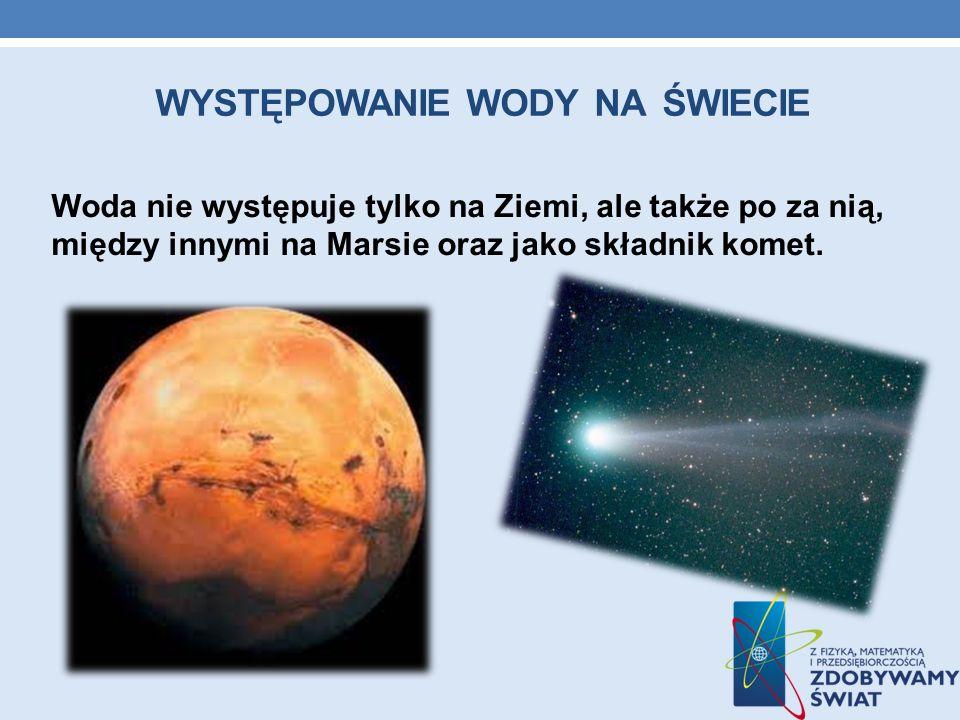 WYSTĘPOWANIE WODY NA ŚWIECIE Woda nie występuje tylko na Ziemi, ale także po za nią, między innymi na Marsie oraz jako składnik komet.