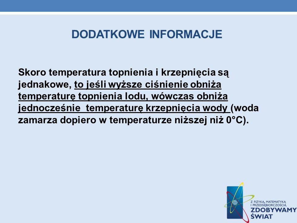 DODATKOWE INFORMACJE Skoro temperatura topnienia i krzepnięcia są jednakowe, to jeśli wyższe ciśnienie obniża temperaturę topnienia lodu, wówczas obni