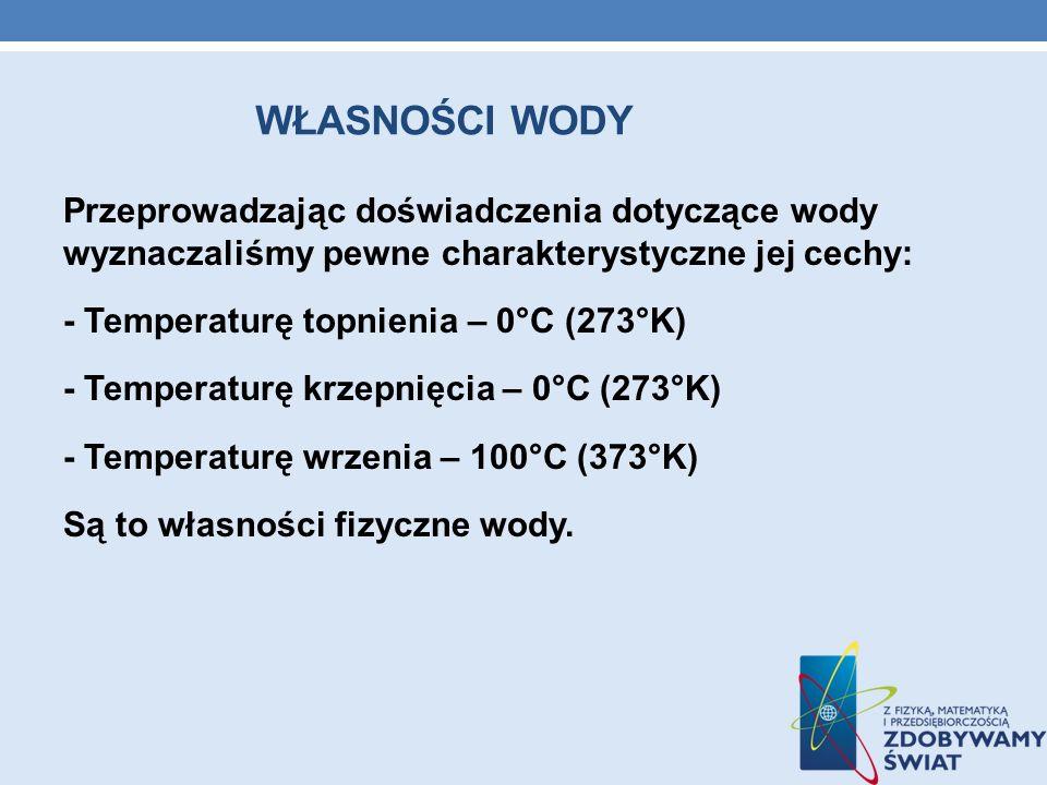 WŁASNOŚCI WODY Przeprowadzając doświadczenia dotyczące wody wyznaczaliśmy pewne charakterystyczne jej cechy: - Temperaturę topnienia – 0°C (273°K) - T