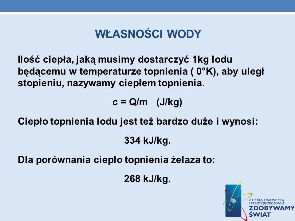 WŁASNOŚCI WODY Ilość ciepła, jaką musimy dostarczyć 1kg lodu będącemu w temperaturze topnienia ( 0°K), aby uległ stopieniu, nazywamy ciepłem topnienia