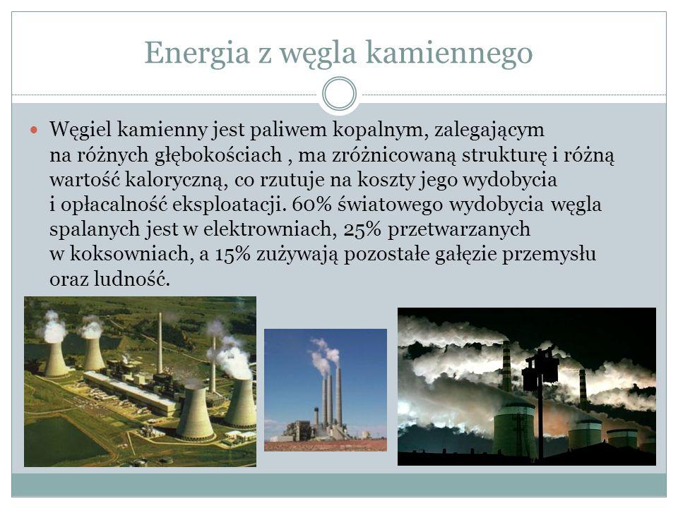 Energia z węgla kamiennego Węgiel kamienny jest paliwem kopalnym, zalegającym na różnych głębokościach, ma zróżnicowaną strukturę i różną wartość kaloryczną, co rzutuje na koszty jego wydobycia i opłacalność eksploatacji.