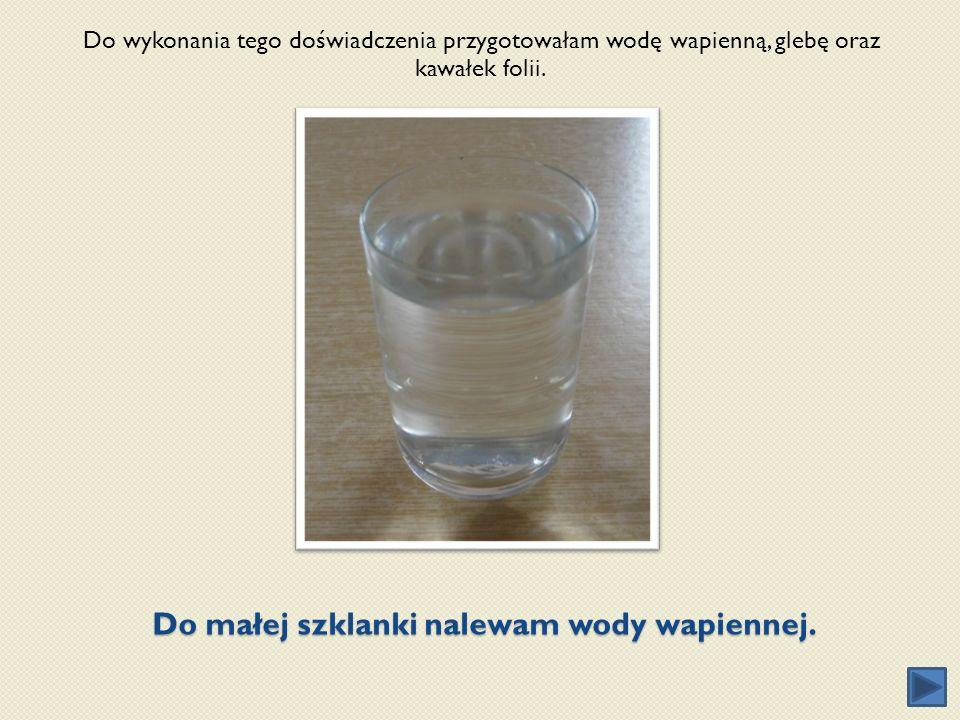 Do małej szklanki nalewam wody wapiennej. Do wykonania tego doświadczenia przygotowałam wodę wapienną, glebę oraz kawałek folii.