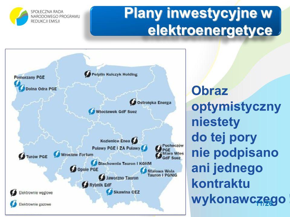 Plany inwestycyjne w elektroenergetyce Obraz optymistyczny niestety do tej pory nie podpisano ani jednego kontraktu wykonawczego .