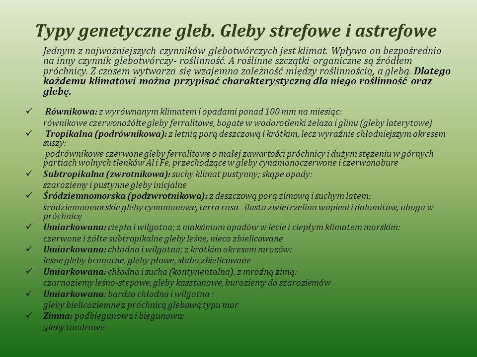 Typy genetyczne gleb. Gleby strefowe i astrefowe Jednym z najważniejszych czynników glebotwórczych jest klimat. Wpływa on bezpośrednio na inny czynnik