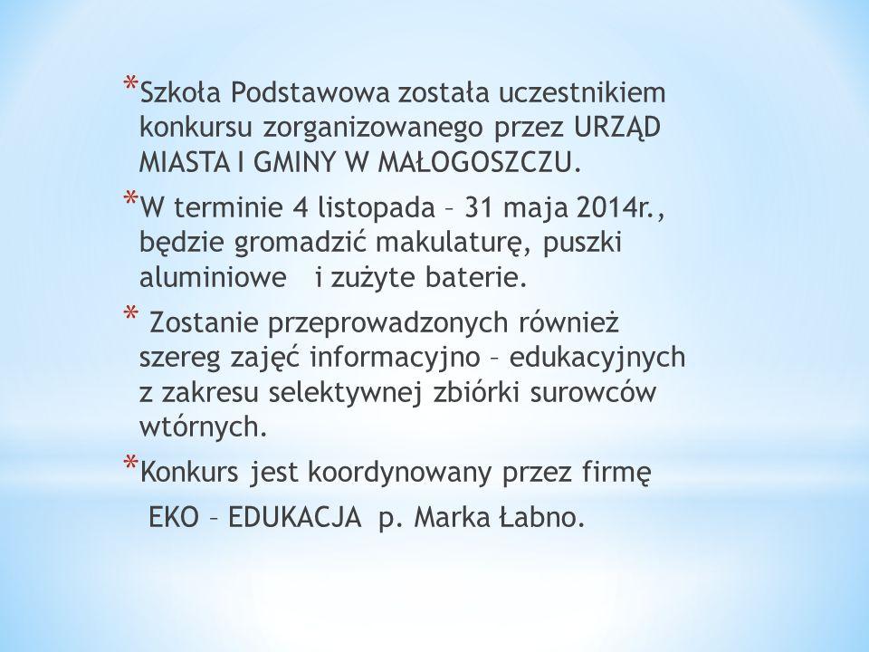 Obecnie Szkoła Podstawowa w Małogoszczu bierze udział w konkursie plastycznym pt. Lubimy mokradła poświęconym tematyce ochrony obszarów wodno-błotnych