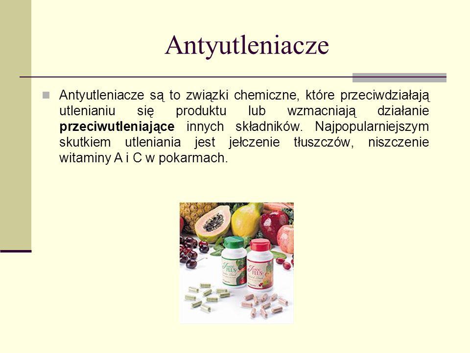 Antyutleniacze Antyutleniacze są to związki chemiczne, które przeciwdziałają utlenianiu się produktu lub wzmacniają działanie przeciwutleniające innyc