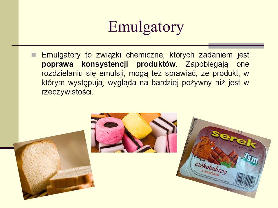 Emulgatory Emulgatory to związki chemiczne, których zadaniem jest poprawa konsystencji produktów. Zapobiegają one rozdzielaniu się emulsji, mogą też s