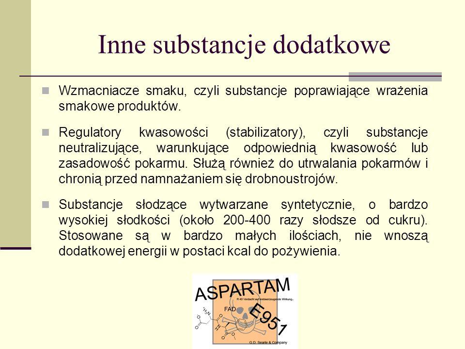 Inne substancje dodatkowe Wzmacniacze smaku, czyli substancje poprawiające wrażenia smakowe produktów. Regulatory kwasowości (stabilizatory), czyli su