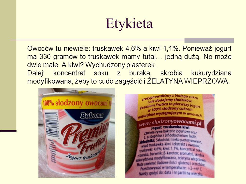 Etykieta Owoców tu niewiele: truskawek 4,6% a kiwi 1,1%. Ponieważ jogurt ma 330 gramów to truskawek mamy tutaj… jedną dużą. No może dwie małe. A kiwi?