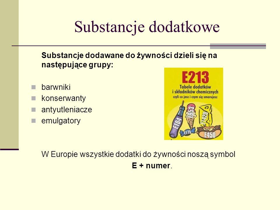 Substancje dodatkowe Substancje dodawane do żywności dzieli się na następujące grupy: barwniki konserwanty antyutleniacze emulgatory W Europie wszystk