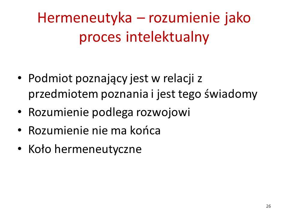 Hermeneutyka – rozumienie jako proces intelektualny Podmiot poznający jest w relacji z przedmiotem poznania i jest tego świadomy Rozumienie podlega ro