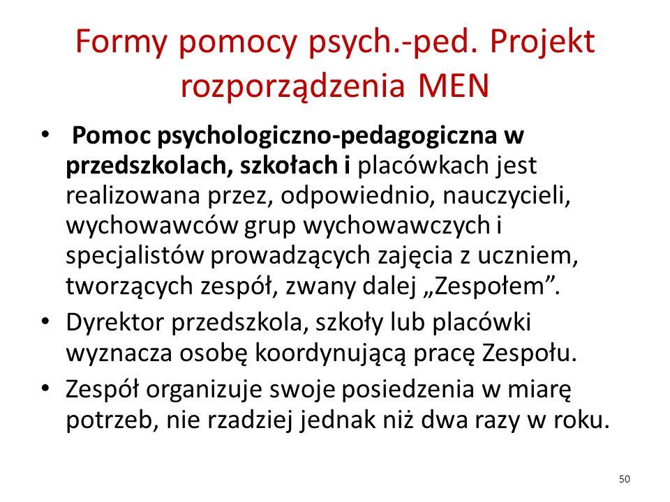 Formy pomocy psych.-ped. Projekt rozporządzenia MEN Pomoc psychologiczno-pedagogiczna w przedszkolach, szkołach i placówkach jest realizowana przez, o